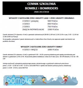CENNIK SZKOLENIA BOMBLOWEGO I BOMBRIDERS_2017_2018